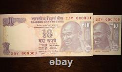 INDIA 2014 10 Rupees Serial Number 1-100 Consecutive 100 Pack Mahatma GANDHI