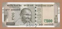 INDIA, 2017 500 Rupees Banknote Super Solid Serial Number 8FF 888888, UNC