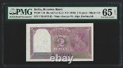 INDIA 2 Rupees 1943, P-17b Deshmukh, PMG 65 EPQ, Gem UNC, Scarce Grade & Type