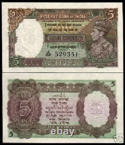 INDIA 5 RUPEES P-18 a 1937 KING GEORGE VI LION UNC RARE BRITISH INDIAN BANK NOTE