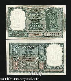 INDIA 5 RUPEES P-35 1957 x 20 Pcs Lot Bundle ANTELOPE TIGER UNC HVRI ANIMAL NOTE