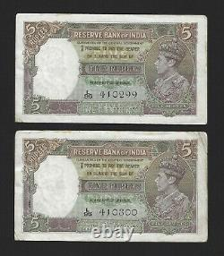 INDIA 5 Rupees 1943, P-18b Deshmukh, 2 Consecutive Notes, Original EF, KGVI