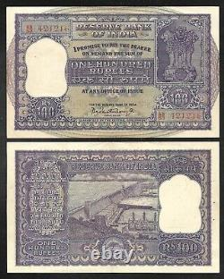 INDIA Old 100 Rupees Note 1960's P45 Nice XF
