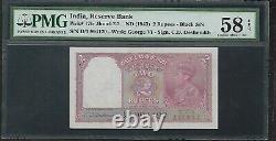 INDIA Old 2 Rupee Note (1943) P17b PMG 58 AU