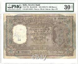 INDIA PICK 46e 1954-57 1000 RUPEES B RAMA RAO MADRAS PMG 30NET