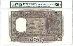 INDIA PICK 65b 1975-77 1000 RUPEES A/11 328677 PMG 66 EPQ XXX-RARE GRADE