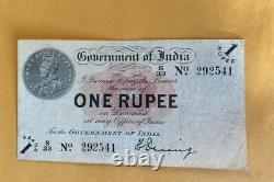 INDIA -P-1E 1Rs KGV ND1917 Vf ++ Rare Denning Sign