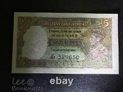 INDIA Reserve Bank 1943 5 Rupees UNC with hole