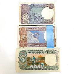 INDIA SET 3 PCS 1 2 5 Rupees X 100 PCS 3 BUNDLES 1975-1994 P-78A 79 80 AU-UNC