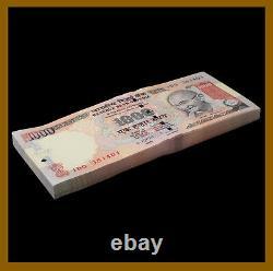 India 1000 (1,000) Rupees x 100 Pcs Bundle, 2011 P-100u Letter L Gandhi Unc