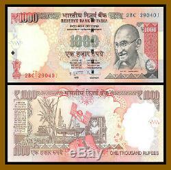 India 1000 (1,000) Rupees x 100 Pcs Bundle, 2012 P-100w Letter L New Symbol Unc
