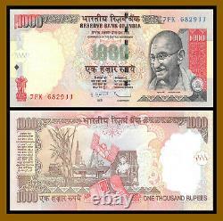 India 1000 (1,000) Rupees x 50 Pcs Bundle, 2011 P-100 Gandhi Unc