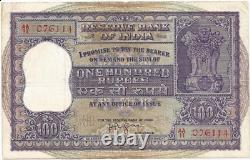 India 100 HVR Iyengar + big note dam G-6 XF v rare Issued In 1960 Pick P-44