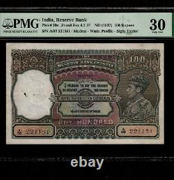 India 100 Rupees 1937 P-20n PMG VF 30 MADRAS