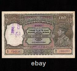 India 100 Rupees 1943 P-20b VF spindle hole King George