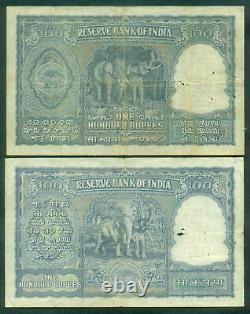 India 100 Rupees 1949/50 Rama Rau Sign 72 P. 41a & 42a. Pair # 917096/806509