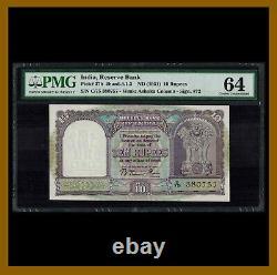 India 10 Rupees, 1951 P-37b Sig. # 72 PMG 64 Unc