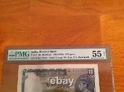 India 10 Rupees ND 1943 P-19b Graded PMG 55 aUNC+ Rare