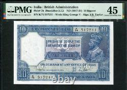 India 1917-1930, 10 Rupees, P7b, PMG 45 EF (Spindle Holes at Issue)