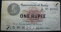 India 1917 1 Rupee Bank Note, Scarce McWatters Signed