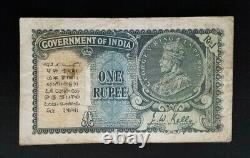 India 1935 One Rupee banknote George V King & Emperor, J. W. Kelly Scarce note