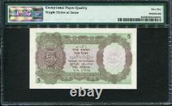 India 1937, 5 Rupees, P18a, PMG 65 EPQ GEM UNC (Staple Holes at Issue)