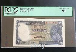 India 1937, UNC Banknote 10 Rupees, P-19a Taylor, PCGS 64 Rare Grade