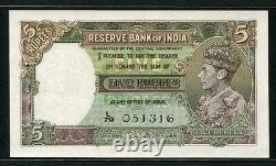 India 1943, 5 Rupees, P18b, UNC (2 pinholes)