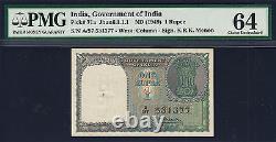 India 1949 One Rupee 1st Issue Menon Pick-71a Ch UNC PMG 64