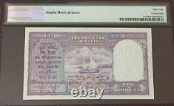 India 1951 10 Rupees Pick 37b B. Ramarau Second Issue PMG Graded UNC 64