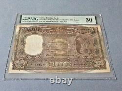 India 1,000 Rupees P-65a ND(1975) PMG 30 Staple Holes at Issue, Pinholes