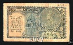 India 1 Rupee 14a 1935 King George V Coin Portrait Watermark Scarce Indian Note