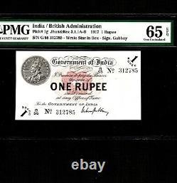 India 1 Rupee 1917 P-1g PMG Gem Unc 65 EPQ Rare Grade No Pinholes