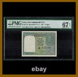 India 1 Rupee, 1951 P-72 PMG 67 EPQ Unc