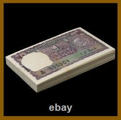 India 1 Rupee x 100 Pcs Bundle, 1969-70 P-66 B Gandhi Fancy S/N 555333 Pinhole
