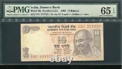 India 2009 10 Rupees Super Solid 7's 77u 777777 Pmg 65 Epq