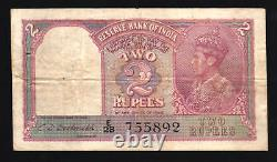 India 2 Rupees P-17 B 1943 King George VI Lion CDD Sign Scarce Torn Bank Note