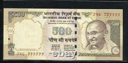India 500 Rupees Super Solid Number 7ne(e) 777777
