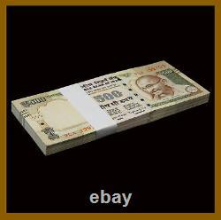 India 500 Rupees x 100 Pcs Bundle, 2013-2016 P-106 New Rupee Symbol Unc