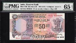 India 50 Rupees 1978 SOLID FIRST Prefix 0AA 666666 Pick-84d GEM UNC PMG 65 EPQ