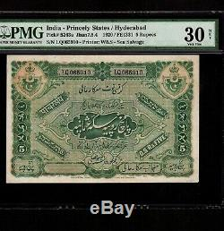 India 5 Rupees 1920 P-S263a PMG VF 30 net Hyderabad
