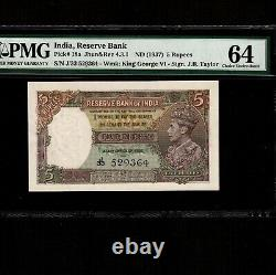 India 5 Rupees 1937 P-18a PMG Unc 64 King George