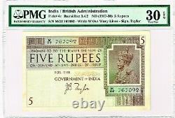 India 5 Rupees ND (1917-30) Pick 4c Jhun3.4.2 PMG Very Fine 30 EPQ