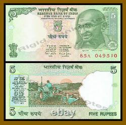 India 5 Rupees x 1000 Pcs Brick, 2002-2008 P-88A Gandhi Tractor Banknote Unc