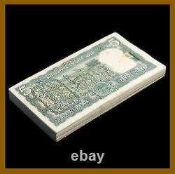 India 5 Rupees x 100 Pcs Bundle, 1970 P-56b Letter A Antelope Pinhole Unc