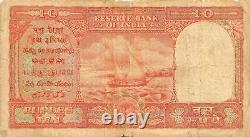 India / Arabian Gulf issue 10 Rupees ND. 1950's P R3 Circulated Banknote