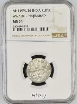 India Awadh-Najibabad State AH1199//26 Rupee NGC Graded MS 64