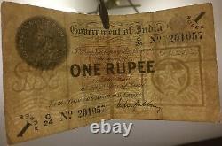 India British Administration Government of India 1 Rupee 1917 F Pick #1g SCARCE