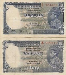 India, British India 10 Rupees, (Lot of 2) Year 1937, J. B. Taylor Sign, P19a, XF