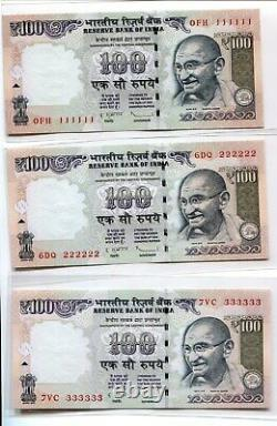 India Gandhi 100 Rupees Previous Issue- Solid Number 111111-999999 Unc Set